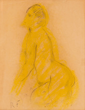 Robert Rafaelovich FALK - Drawing-Watercolor - Double-sided Study of a Seated Nude