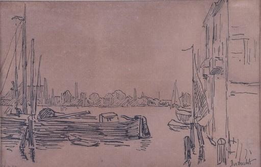 Maximilien LUCE - Zeichnung Aquarell - Harbor Scene