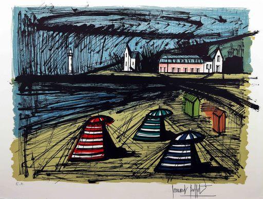 Bernard BUFFET - Grabado - Tentes sur la plage