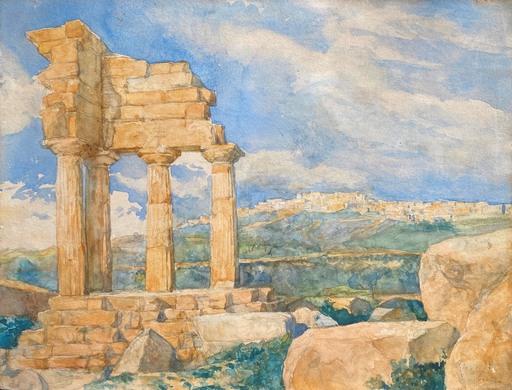 Anne-Louis GIRODET - Zeichnung Aquarell - Agrigente Paysage Le Temple de Castors et Pollux