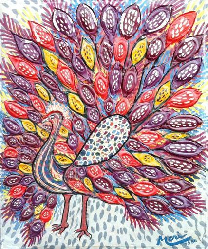 Alexis MORI - Gemälde - le paon oriental