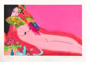 TING Walasse - Estampe-Multiple - Nude courtesan, 1987