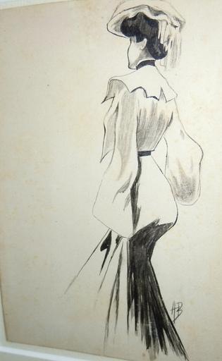 Aubrey BEARDSLEY - Dibujo Acuarela - Young lady