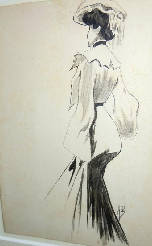Aubrey BEARDSLEY - Disegno Acquarello - Young lady