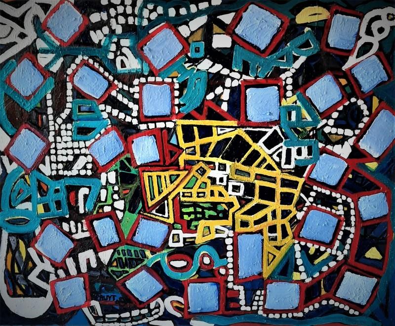 Walter SPRUYT - Pintura - Carrés en rotation