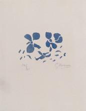 """Georges BRAQUE - Grabado - Fleurs bleues """"Si je mourais là-bas"""""""