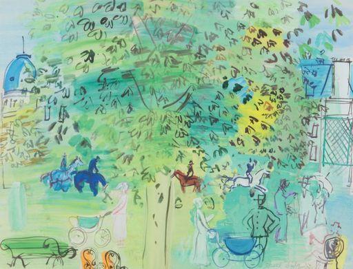 Raoul DUFY - Dessin-Aquarelle - Au jardin public