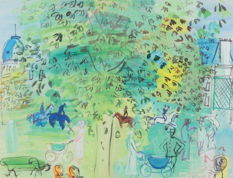 Raoul DUFY - Drawing-Watercolor - Au jardin public