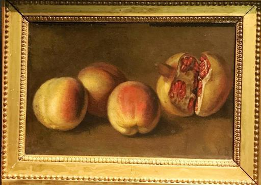 Vanessa BELL - Gemälde - Still life with peaches & pomegranate – Hommage to Cezanne
