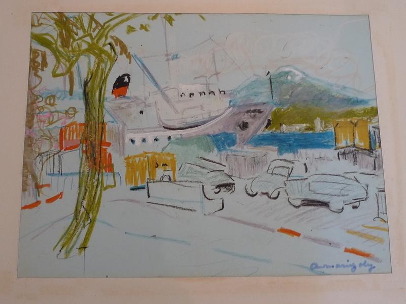 Anne-Marie JOLY - Dessin-Aquarelle - Ajaccio le port