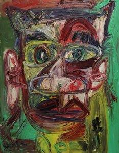 Thierry LOULÉ - Painting - Portrait vert