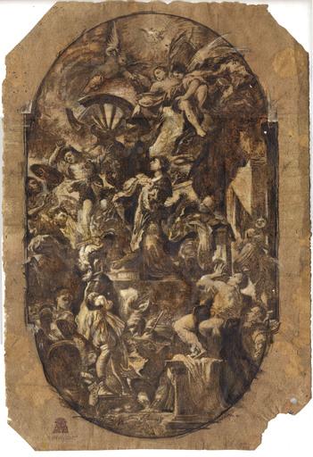Domenico Antonio VACCARO - Dibujo Acuarela - HE MARTYRDOM OF ST. CATHERINE OF ALEXANDRIA