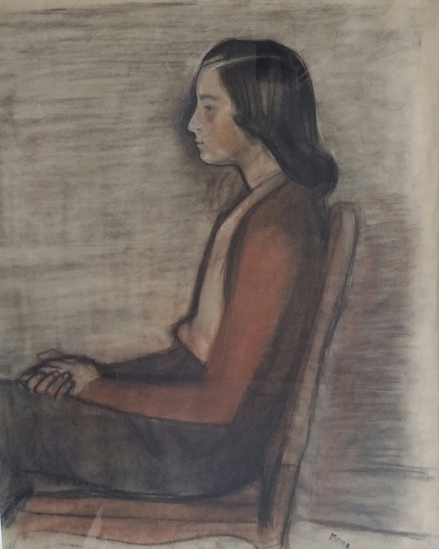 Georges KARS - Dibujo Acuarela - Seated Young Woman