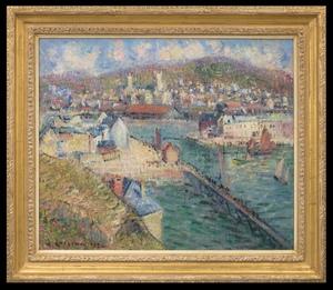 Gustave LOISEAU - Painting - L'avant-port de Fécamp