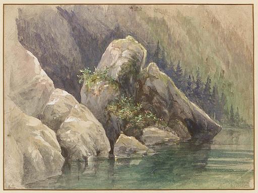 """Anton PERKO - Zeichnung Aquarell - """"Alpine Lake"""", Watercolor, late 19th Century"""