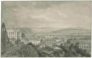 Johann Heinrich I TISCHBEIN - Disegno Acquarello - Kassel, Blick von der Baustelle des neuen Schlosses.