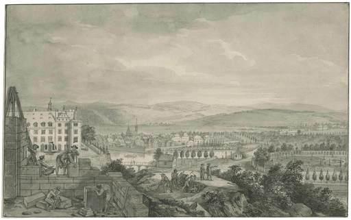 Johann Heinrich I TISCHBEIN - Drawing-Watercolor - Kassel, Blick von der Baustelle des neuen Schlosses.