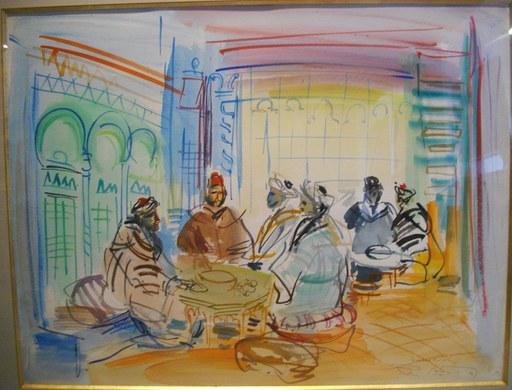 Roger BERTIN - Disegno Acquarello - Le café maure