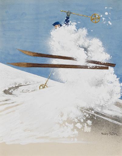 Rudolf BAUER - Drawing-Watercolor - Untitled (Skiier)