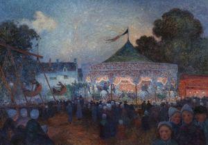 Ferdinand Loyen DU PUIGAUDEAU - Painting - Le Manège de nuit et fête foraine