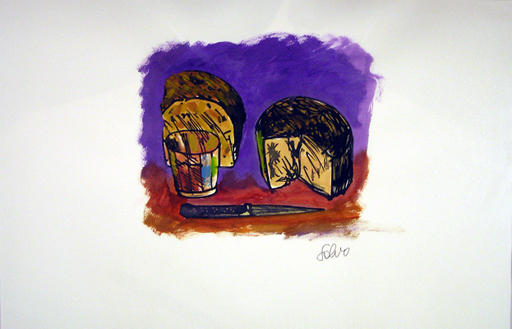 SALVO - Drawing-Watercolor - Natura morta con pane