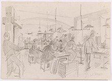 Ladislaus Eugen PETROVITS - Dibujo Acuarela - Printing House, late 19th Century