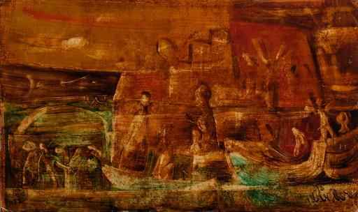 Eugène FIDLER - Pintura - Sur le port
