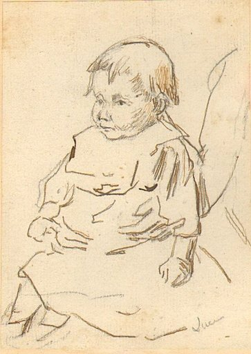 Maximilien LUCE - Disegno Acquarello - Studie eines Kleinkinds / Study of a small child