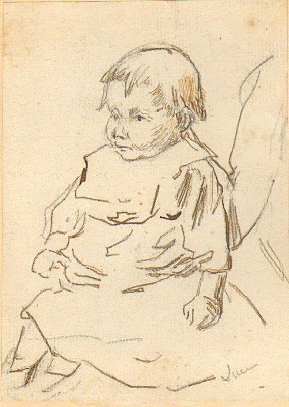 Maximilien LUCE - Zeichnung Aquarell - Studie eines Kleinkinds / Study of a small child