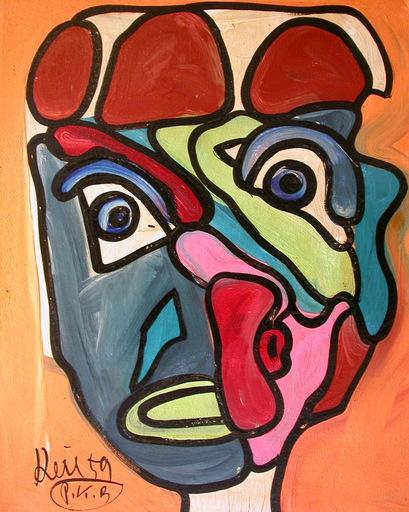 Peter Robert KEIL - Pittura - Kubistischer Kopf aus 1959