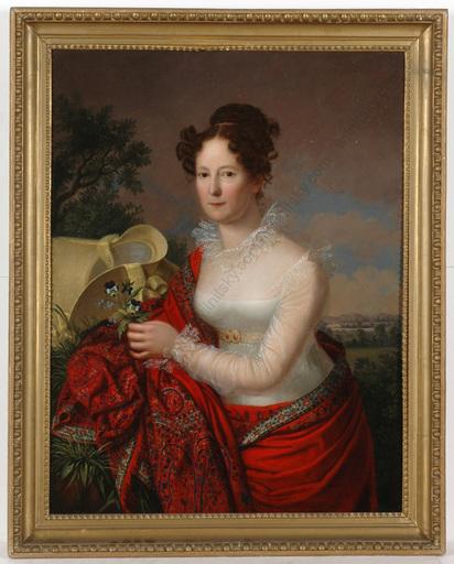 "Johann Friedrich DIETLER (Attrib.) - Gemälde - ""Portrait of a lady in landscape"", oil on canvas, ca.1825"