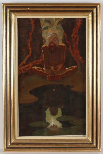 """Erwin STOLZ - Gemälde - """"Lotus"""", Oil Painting by Erwin Stolz, ca 1925"""