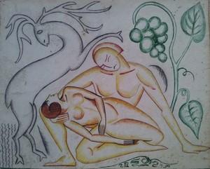 Henryk BERLEWI - Dibujo Acuarela - Cuple with a Deer