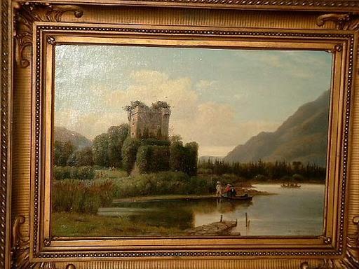 Henry LEWIS - Pittura - Abendliche Rheinlandschaft mit Turmruine