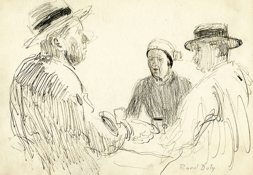 拉奥尔•杜飞 - 水彩作品 - Trois personnages assis autour d'une table