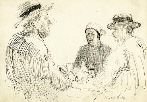 Raoul DUFY - Dibujo Acuarela - Trois personnages assis autour d'une table