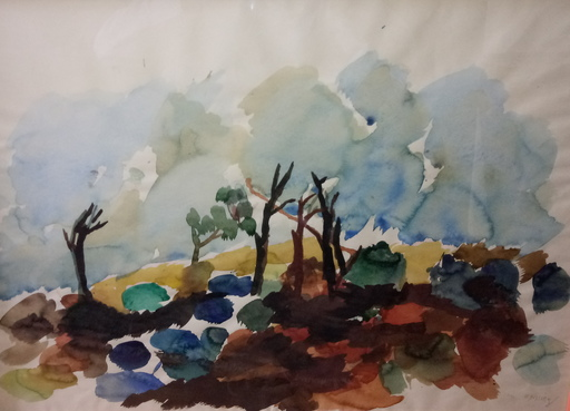 Gustav HESSING - Dibujo Acuarela - Herbstlandschaft