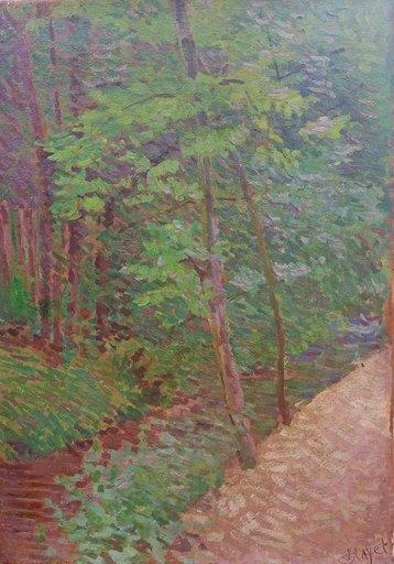 Louis HAYET - Painting - Sous-bois à Mantes