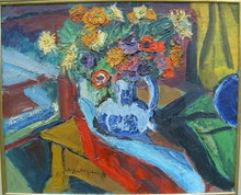 Pierre AMBROGIANI - Painting - nature morte au pot bleu