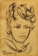 Yaacov AGAM - Dibujo Acuarela - Portrait of a Woman