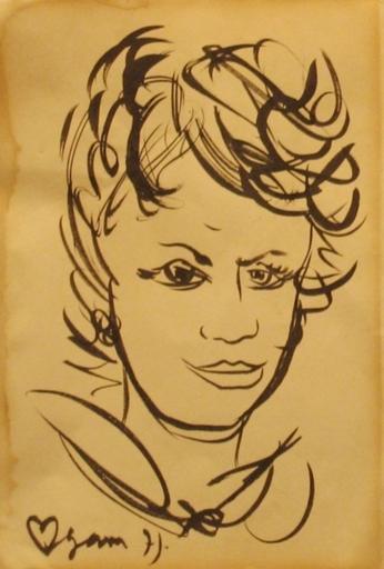 Yaacov AGAM - Disegno Acquarello - Portrait of a Woman