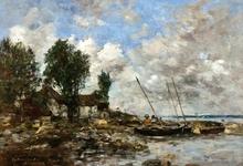 Eugène BOUDIN - Painting - Le Rivage a Plougastel, 1870