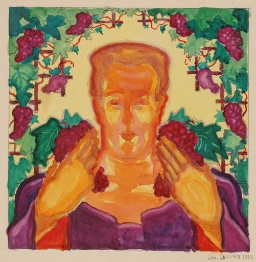 "Josef LACINA - Dibujo Acuarela - ""Wine Grower"", 1923, Watercolor"