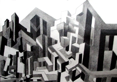 Piers HENRIOT - Drawing-Watercolor - STRUCTURE URBAINE 33