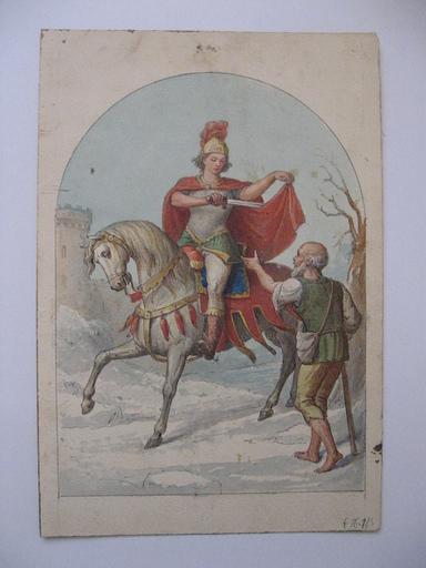 LALOUETTE - Dessin-Aquarelle - chevalier et mendiant