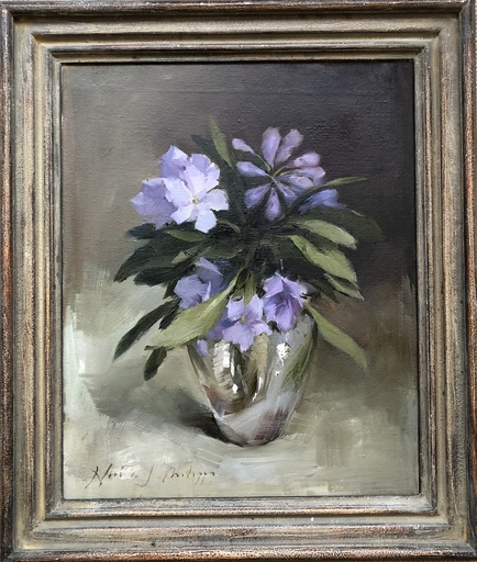 Nicky PHILIPPS - Pittura - Rhododendrons in a silver vase