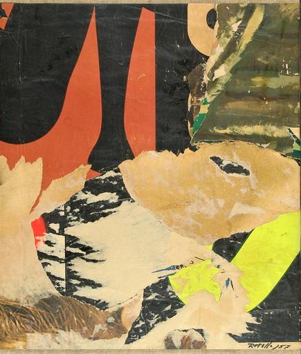 Mimmo ROTELLA - Peinture - RÉVE ROUGE ET JAUNE - 1957