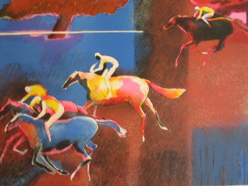 Paul GUIRAMAND - Print-Multiple - Quatre jockeys,1991.
