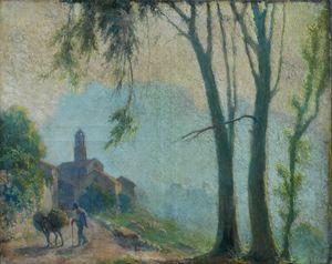 Léon Charles CANNICIONI - Peinture - vieux village corse : POPOLASCA?