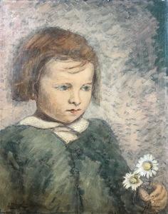 Julia MINGUILLON IGLESIAS - Pintura - NIÑA CON MARGARITAS